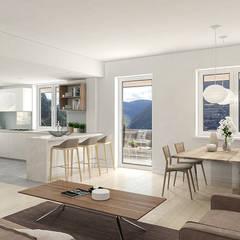 Ampliación de una vivienda unifamiliar (Andorra).: Comedores de estilo  de Bau Arquitectura