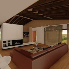 """Casa """"AB"""" Salas de estar rústicas por Traço M - Arquitectura Rústico Madeira Acabamento em madeira"""