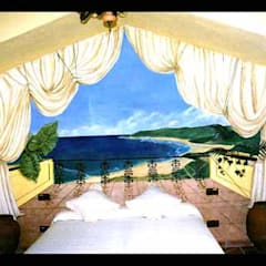 Murales originales para decoración de todo tipo de espacios: Dormitorios pequeños de estilo  de Pintura decorativa de interiores  Irmapenna