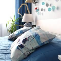 Sypialnia w morsko-greckim stylu: styl , w kategorii Sypialnia zaprojektowany przez archJudyta Aranżacja Wnętrz