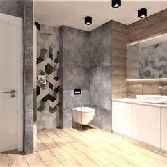 Łazienka z mozaiką heksagonalną: styl , w kategorii Łazienka zaprojektowany przez Wkwadrat Architekt Wnętrz Toruń,