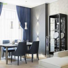 Дизайн трехкомнатной квартиры 95 кв. м в современном стиле. Фото проекта: Столовые комнаты в . Автор – ЕвроДом,