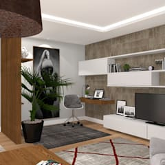 REFORMA PISO Salones de estilo moderno de PLAN B INTERIORISMO Moderno
