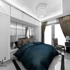 Sypialnia w stylu glamour: styl , w kategorii Małe sypialnie zaprojektowany przez Wkwadrat Architekt Wnętrz Toruń,