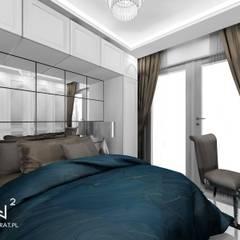 Sypialnia w stylu glamour: styl , w kategorii Małe sypialnie zaprojektowany przez Wkwadrat Architekt Wnętrz Toruń,Klasyczny Płyta MDF