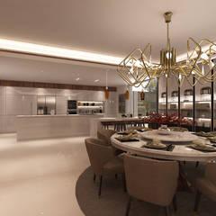 Projecto 3D -Cozinha e Sala de Jantar - Braga: Salas de jantar  por Alpha Details,Moderno