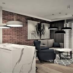 Apartament na wynajem: styl , w kategorii Salon zaprojektowany przez Wkwadrat Architekt Wnętrz Toruń,