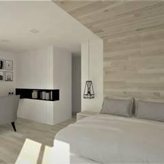 Sypialnia: styl , w kategorii Małe sypialnie zaprojektowany przez Wkwadrat Architekt Wnętrz Toruń