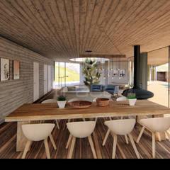"""Casa """"HCS"""" Salas de jantar escandinavas por Traço M - Arquitectura Escandinavo Madeira Acabamento em madeira"""