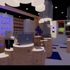"""Loja de Informática """"N'Soluções"""": Lojas e espaços comerciais  por Traço M - Arquitectura,Moderno Madeira Acabamento em madeira"""