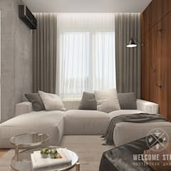 «Квартира для архитекторов» в г. Москва: Гостиная в . Автор – Мастерская дизайна Welcome Studio