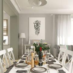 Светлая гостиная со столовой и кухня: Столовые комнаты в . Автор – BAUART INTERIOR DESIGN, Эклектичный