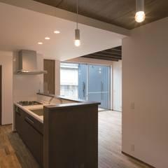 旗竿地のコートハウス: 三浦尚人建築設計工房が手掛けたシステムキッチンです。,モダン 合板(ベニヤ板)