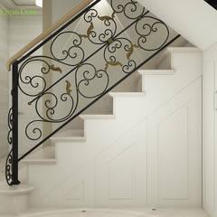 Дизайн интерьера коттеджа 103 кв. м в современном стиле. Фото проекта: Лестницы в . Автор – ЕвроДом