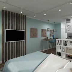 ДИЗАЙН-ПРОЕКТ КВАРТИРЫ-СТУДИИ: Маленькие спальни в . Автор – Ideal Space,