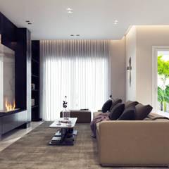 :  غرفة المعيشة تنفيذ ICONIC DESIGN STUDIO, حداثي
