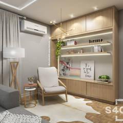 Sala de TV Salas de estar escandinavas por STUDIO 405 - ARQUITETURA & INTERIORES Escandinavo