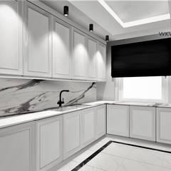 Kuchnia w domie pod Toruniem: styl , w kategorii Kuchnia na wymiar zaprojektowany przez Wkwadrat Architekt Wnętrz Toruń,Klasyczny Płytki