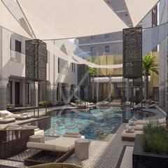 Aswar Hotel - Modern Moroccan Hotel Design:  Pool by Comelite Architecture, Structure and Interior Design , Modern