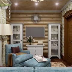 Дизайн интерьера деревянного дома 190 кв. м в стиле русский терем: Гостиная в . Автор – ЕвроДом, Рустикальный