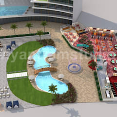 Unique Game Zone with Beach side Swimming Pool 3D Floor Plan Rendering Service by Architectural Visualisation Studio, Paris – France:  Floors by Yantram Architectural Design Studio