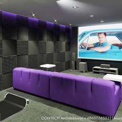 Projekt wnętrz domu jednorodzinnego: styl , w kategorii Pokój multimedialny zaprojektowany przez CONTECH Architektura