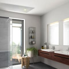 badkamer verwarming Moderne badkamers van Heat Art - infrarood verwarming Modern Glas