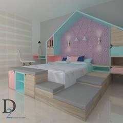 Diseño interior y mobiliario casa familiar : Habitaciones para niñas de estilo  por D2 ARQUITECTURA Y MOBILIARIO, Moderno Madera Acabado en madera