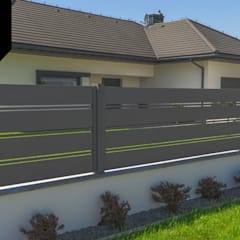 Solid Grey. Nowoczesne ogrodzenie aluminiowe Xcel: styl , w kategorii Podwórko zaprojektowany przez Xcel