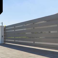 Solid Grey. Nowoczesne ogrodzenie aluminiowe Xcel: styl , w kategorii Ogród zaprojektowany przez Xcel,