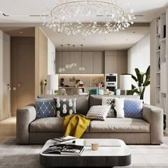 اتاق نشیمن توسطКомпания архитекторов Латышевых 'Мечты сбываются'