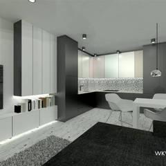 Salon z aneksem kuchennym: styl , w kategorii Aneks kuchenny zaprojektowany przez Wkwadrat Architekt Wnętrz Toruń