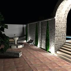 DISEÑO Y CONTRSUCCION DE ESPACIOS EXTERIORES EN RANCHO: Casas de campo de estilo  por Arqui*ACC. Mx