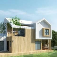 모던한 목조주택_설계사례: 한글주택(주)의  목조 주택