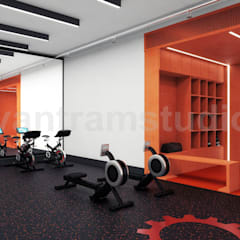 Commercial Fitness GYM 3D Interior Rendering Ideas by Architectural Rendering Companies, Bern – UK:  Gym by Yantram Architectural Design Studio