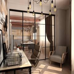 Проект 3-х комнатной квартиры в духе лофт: Рабочие кабинеты в . Автор – ARTWAY центр профессиональных дизайнеров и строителей, Лофт