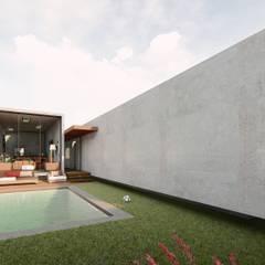 Axis House: Terrazas de estilo  por DOGMA Architecture, Moderno Concreto