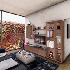 Axis House: Salas de entretenimiento de estilo  por DOGMA Architecture, Moderno Concreto