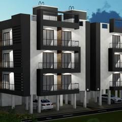 STILT+3 RESIDENTIAL BUILDING AT BOISAR, PALGHAR:  Multi-Family house by HARDIK PATIL ARCHITECTS