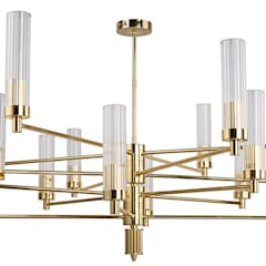 Contemporary Gold Brass Luxury Chandelier SETI 8 Arms Glass Lamp Shade:  Living room by Luxury Chandelier, Classic