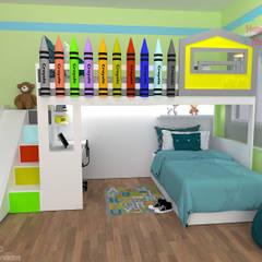 Proyecto Litera Crayolas: Recámaras para niños de estilo  por Happy Kids Muebles, Moderno Madera maciza Multicolor