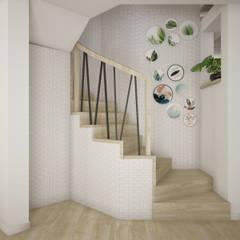 Wnętrza szeregówki w Warszawie: styl , w kategorii Schody zaprojektowany przez Nevi Studio