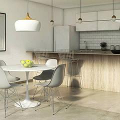 Duplex Cinco Soles Comedores escandinavos de MOD | Arquitectura Escandinavo Madera Acabado en madera