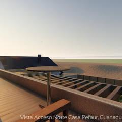 Diseño de Cabaña NAVARINO en el balneario Guanaqueros en Coquimbo: Terrazas  de estilo  por Territorio Arquitectura y Construccion - La Serena