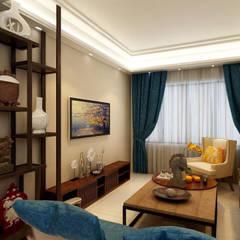 MASTER BEDROOM + LIVING AREA DESIGN :  Living room by Matter Of Space Pvt. Ltd.,Minimalist Plywood