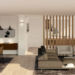 Reforma y decoración estilo minimalista de un piso en Gijón Salones de estilo moderno de arQmonia estudio, Arquitectos de interior, Asturias Moderno