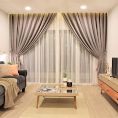 Of White Whites and Dew Gray:  Living room by Infini Home Concept Sdn. Bhd.