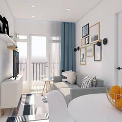 غرفة المعيشة تنفيذ DSL Studio , إسكندينافي خشب Wood effect