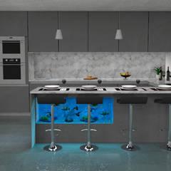 Cozinha com aquário: Cozinhas  por Pedro Figueiredo 3D Design
