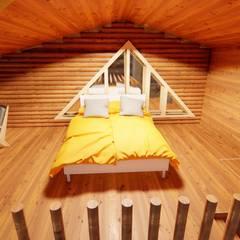 Dost ahşap – tomruk villa:  tarz Küçük Yatak Odası